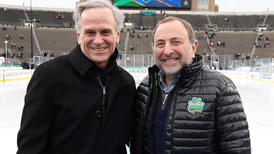 John Jenkins, pictured here with NHL Commissioner Gary Bettman in 2019.