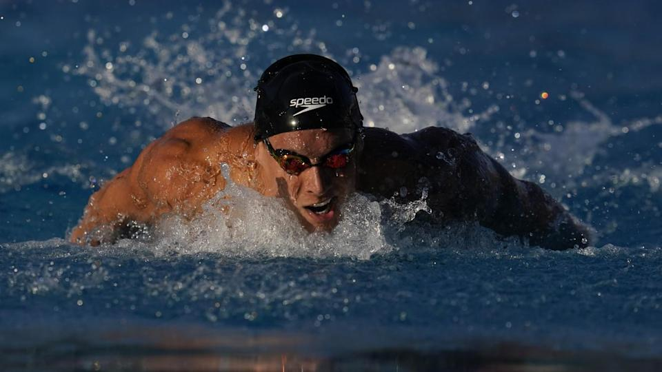 Caeleb Dressel competes in the men's 100-meter butterfly prelims at the TYR Pro Swim Series meet.