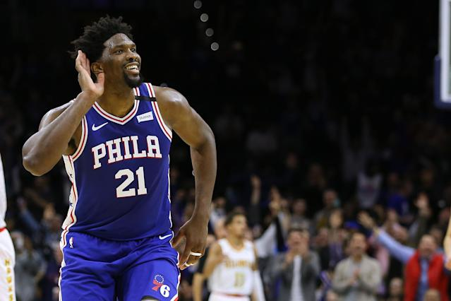 """<a class=""""link rapid-noclick-resp"""" href=""""/nba/players/5294/"""" data-ylk=""""slk:Joel Embiid"""">Joel Embiid</a> egged on the home crowd after he hit a career high. (Rich Schultz/Getty Images)"""