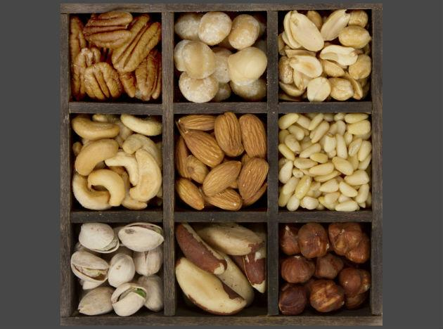 <b>Nuts:</b> Yes they have a high fat content, but they are all good fats which makes them excellent for your heart! In small doses, they can lower cholesterol and aid in weight loss. And with so many varieties of healthy nuts around (almonds, peanuts, walnuts) you'll be hard-pressed to find a healthier snacking option!