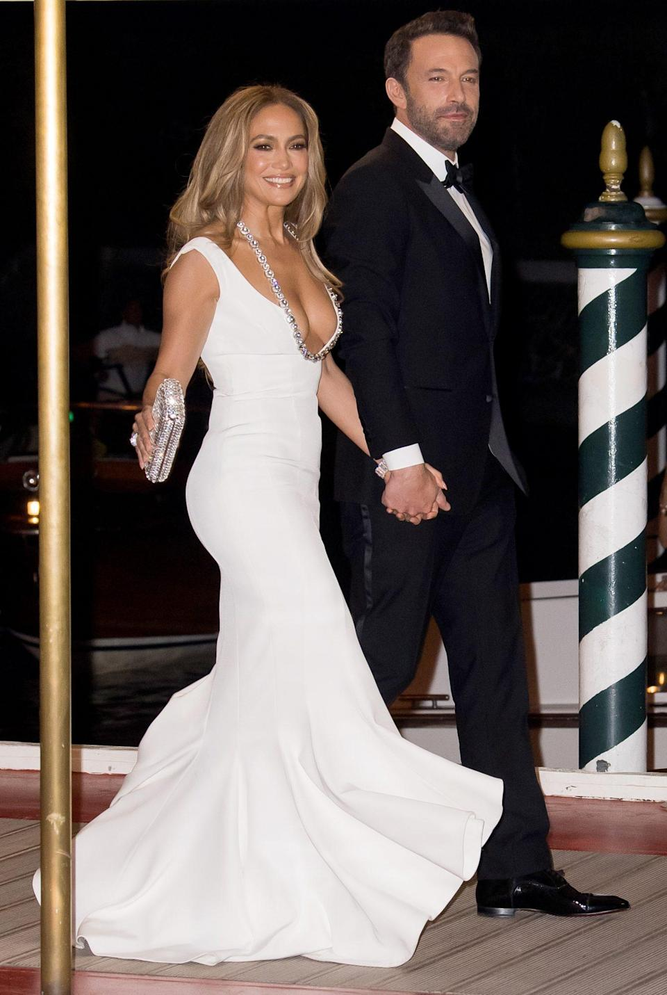 <p>Way to make an entrance! The pair turned heads as they arrived at the September 2021 Venice Film Festival premiere of<i> The Last Duel,</i> which Affleck co-wrote and stars in, in full old-Hollywood glamour. </p>