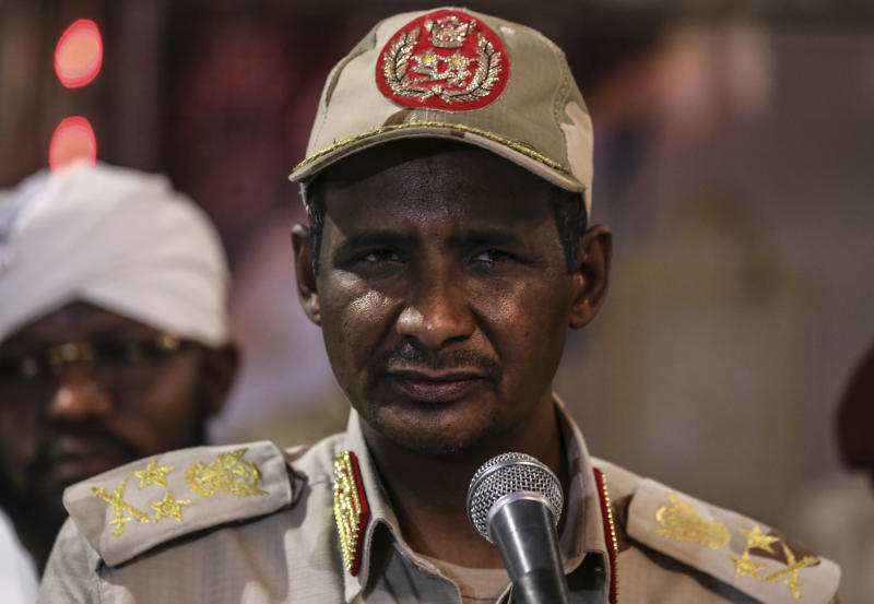 In this Saturday, May 18, 2019 photo, Gen. Mohammed Hamdan Dagalo, better known as Hemedti, the deputy head of the military council that assumed power in Sudan after the overthrow of President Omar al-Bashir, speaks at a press conference after a Ramadan event, in Khartoum, Sudan. Dagalo says he refused orders from al-Bashir to fire on the protesters, and he praised them as recently as last weekend. Many likely see him as an ally against the Islamic movement that orchestrated al-Bashir's 1989 coup and underpinned his regime. (AP Photo)