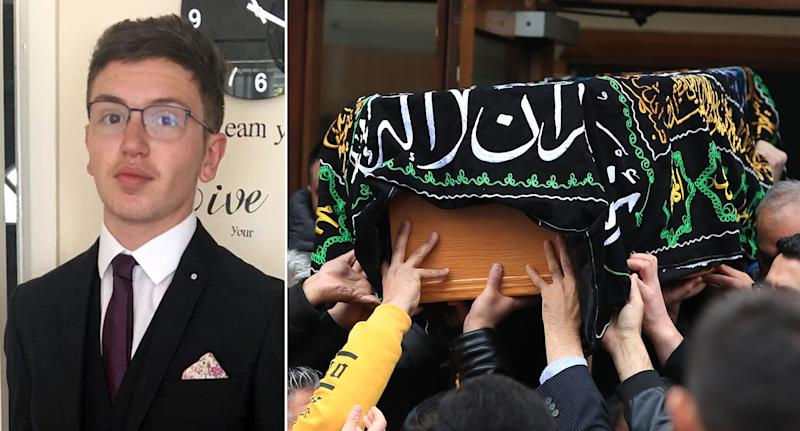 Fatal stabbing: Yousef Makki, 17, was killed in Cheshire after he was stabbed. Right, His coffin is carried out following his funeral (PA and Getty)