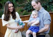 <p>Kate gave George a toy bilby as he was helt by William during a visit to the Bilby Enclosure at Taronga Zoo in April 2014 in Sydney. (Chris Jackson/Getty Images)</p>