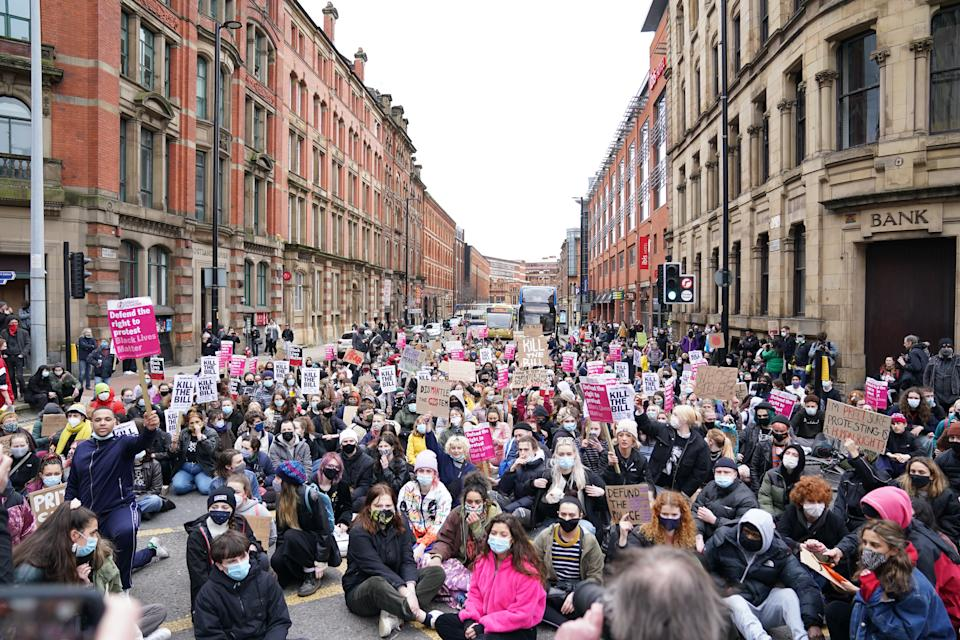 Demonstrators during the 'Kill The Bill' protest against The Police, Crime, Sentencing and Courts Bill in St Peter's Square, Manchester. Picture date: Saturday March 27, 2021.