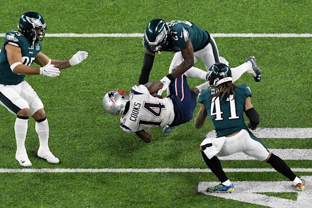 "<a class=""link rapid-noclick-resp"" href=""/nfl/teams/phi"" data-ylk=""slk:Philadelphia Eagles"">Philadelphia Eagles</a> players reportedly left a presentation with NFL referees explaining the league's new helmet rule confused and frustrated this week. (Getty Images)"