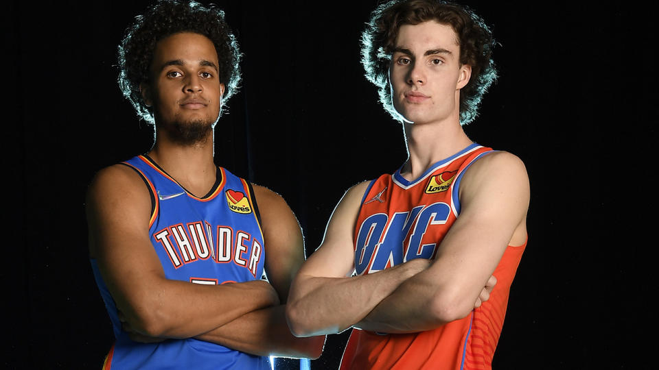Jeremiah Robinson-Earl and Josh Giddey, pictured here with the Oklahoma City Thunder.