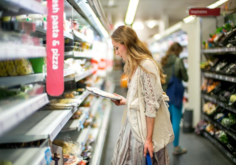Shopping for food in a modern supermarket
