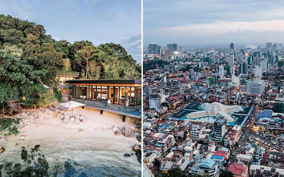From left: An oceanfront villa at Six Senses Krabey Island resort in Southern Cambodia; Phnom Penh, the Cambodian capital, as seen from the rooftop bar of the Rosewood Phnom Penh.   Christopher Wise