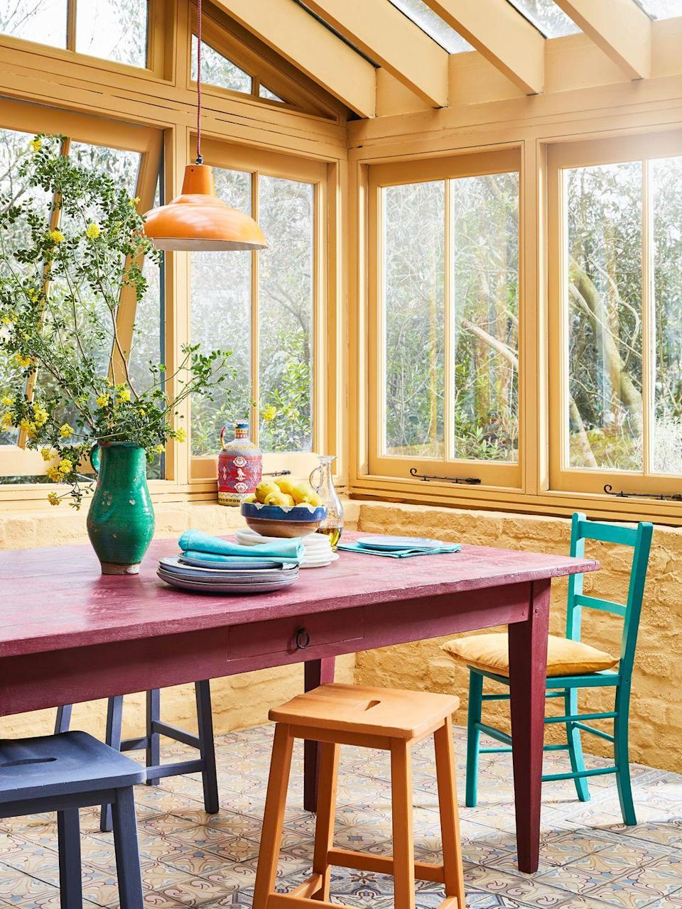 <p>This cheerful, energizing shade of yellow Chalk Paint® is perfect for a sunny room, hence it's name: Sunroom. The table is painted in Burgundy and Emperor's Silk and decorated with a Tallulah stencil. </p>