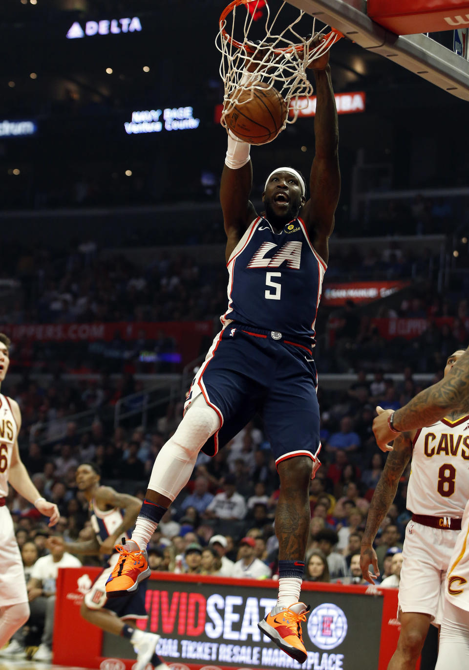 LOS ANGELES, CA - MARCH 30: Los Angeles Clippers center Montrezl Harrell (5) dunks the ball during the game against the Cleveland Cavaliers on March 30, 2019, at Staples Center in Los Angeles, CA. (Photo by Adam Davis/Icon Sportswire via Getty Images)
