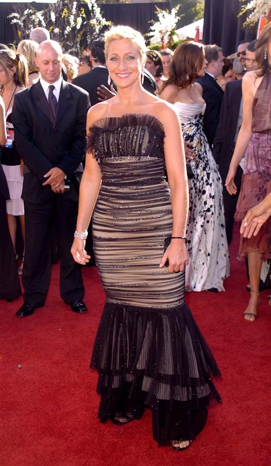 "WORST: In 2004, Edie Falco received her fifth of six Emmy nominations for her role as the wife of ruthless mob boss Tony Soprano. She must have become so good in the role that no one was brave enough to tell ""Carmela"" not to wear the curtains as a dress. (Photo by George Pimentel/WireImage)"