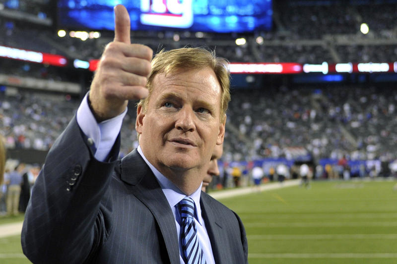 FILE - In this Sept. 5, 2012, file photo, NFL ommissioner Roger Goodell gestures to fans before an NFL football game between the New York Giants and the Dallas Cowboys in East Rutherford, N.J. Jonathan Vilma, Will Smith and the NFL players union left little doubt they remain determined to challenge Commissioner Roger Goodell's authority to suspend players in connection with the league's bounty investigation of the New Orleans Saints. Goodell ruled Tuesday, Oct. 9, 2012, that Vilma, a linebacker, would remain suspended for the season, while Smith, a defensive end, still would face a four-game ban. (AP Photo/Bill Kostroun, File)