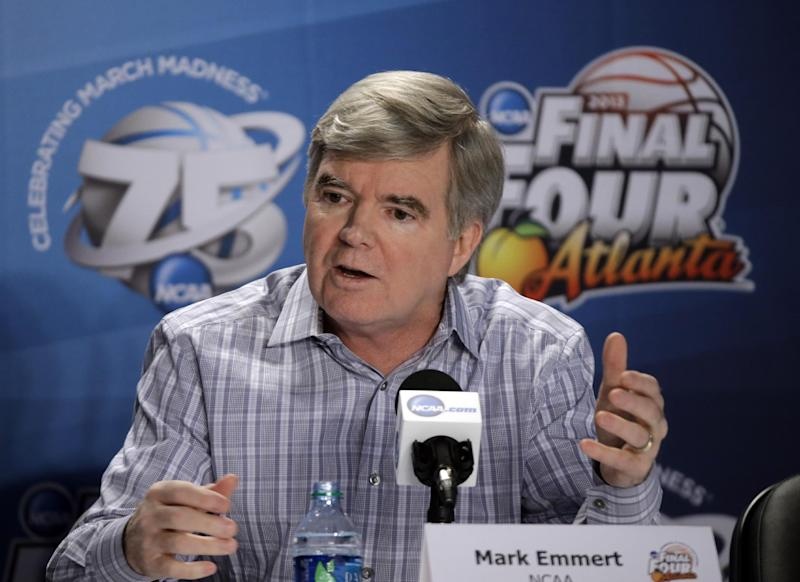 NCAA President Mark Emmert speaks at a news conference Thursday, April 4, 2013, in Atlanta. (AP Photo/David J. Phillip)
