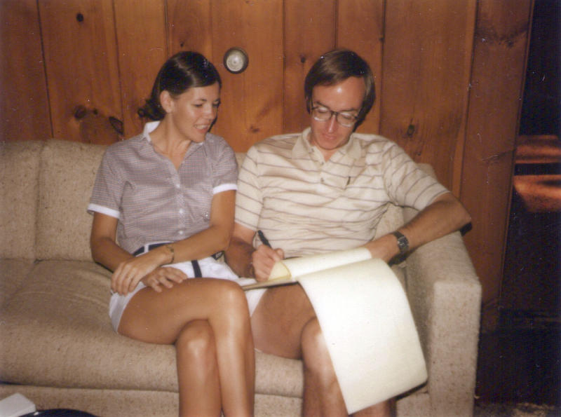 This undated photo provided by Sen. Elizabeth Warren's campaign in July 2019 shows Warren and her husband, Bruce Mann, working as young law professors. (Elizabeth Warren campaign via AP)