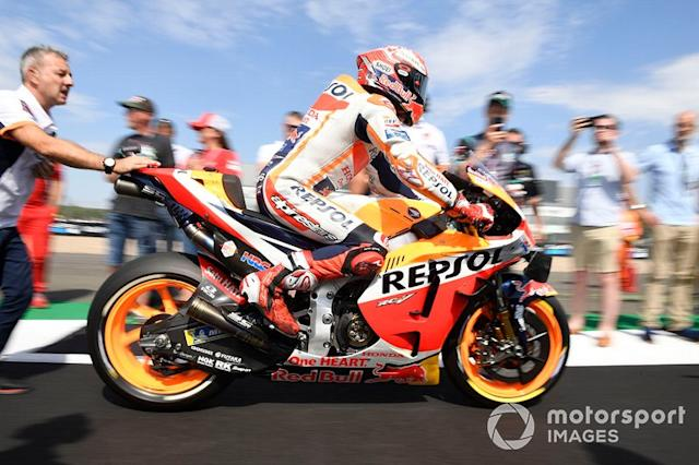 "Marc Marquez, Repsol Honda Team, Britiah MotoGP race 2019 <span class=""copyright"">Gold and Goose / LAT Images</span>"