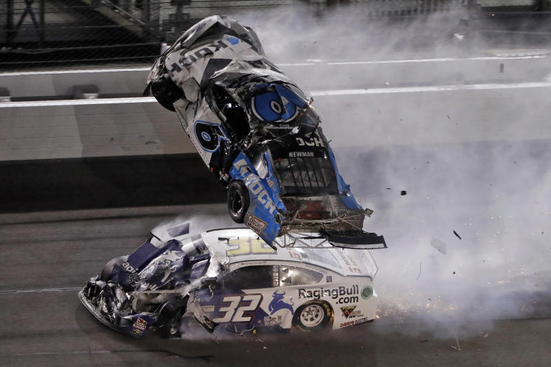 Ryan Newman's car after it got hit by Corey LaJoie's on the final lap of the Daytona 500. (AP Photo/Chris O'Meara)