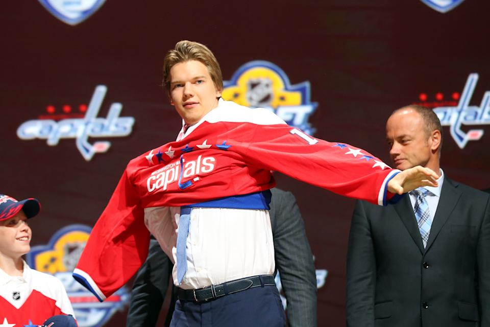 SUNRISE, FL - JUNE 26:  Ilya Samsonov poses after being selected 22th overall by of the Washington Capitals in the first round of the 2015 NHL Draft at BB&T Center on June 26, 2015 in Sunrise, Florida.  (Photo by Bruce Bennett/Getty Images)