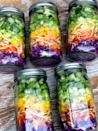 <p>Before you can meal prep your week of salads, make sure you're prepared to begin. I have my clean containers ready to go on the counter next to my cutting board, knife, food processor (which I use to slice red cabbage and shred carrots), compost bowl, and my computer so I can watch YouTube videos while I chop.</p> <p>Make sure to go food shopping beforehand, and set aside an hour or two to prep. The salads take under an hour, but you can also prep other things like cooked rice, beans, chopped veggies for dinners later in the week, and a big pot of soup.</p>