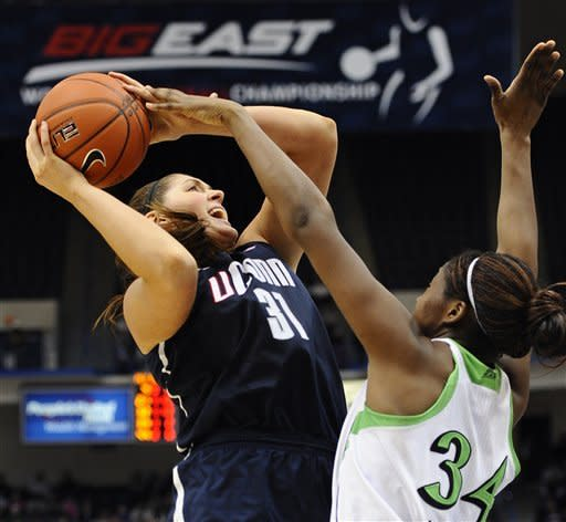 Connecticut's Stefanie Dolson drives to the basket while guarded by Notre Dame's Markisha Wright, right, in the second half of an NCAA college basketball game in the final of the Big East Conference women's tournament in Hartford, Conn., Tuesday, March 12, 2013. (AP Photo/Jessica Hill)