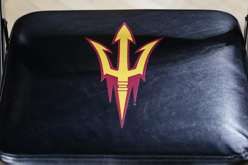 The Arizona State Sun Devils pitchfork logo on a chair.