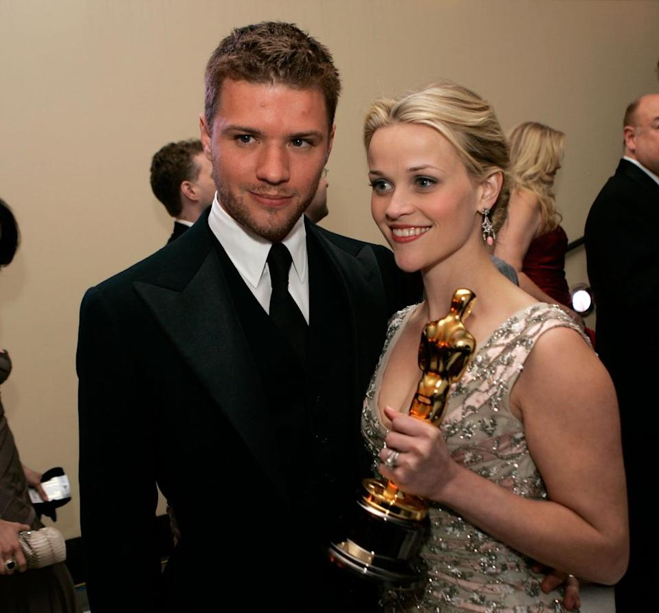 Reese Witherspoon won her Oscar for best actress in Walk The Line. She and fellow actor Ryan Phillippe were married for seven years from 1999 and have two children together. <em>[Photo: Getty]</em>