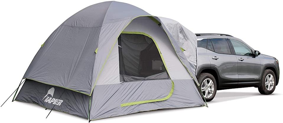 "<p>This <a href=""https://www.popsugar.com/buy/Backroadz-SUV-Tent-584332?p_name=Backroadz%20SUV%20Tent&retailer=amazon.com&pid=584332&price=202&evar1=savvy%3Aus&evar9=47570402&evar98=https%3A%2F%2Fwww.popsugar.com%2Fsmart-living%2Fphoto-gallery%2F47570402%2Fimage%2F47570434%2FBackroadz-SUV-Tent&list1=travel%2Camazon%2Ccamping&prop13=mobile&pdata=1"" class=""link rapid-noclick-resp"" rel=""nofollow noopener"" target=""_blank"" data-ylk=""slk:Backroadz SUV Tent"">Backroadz SUV Tent</a> ($202) is a genius way to stay connected to your car for storage and make the most of your space in the tent.</p>"