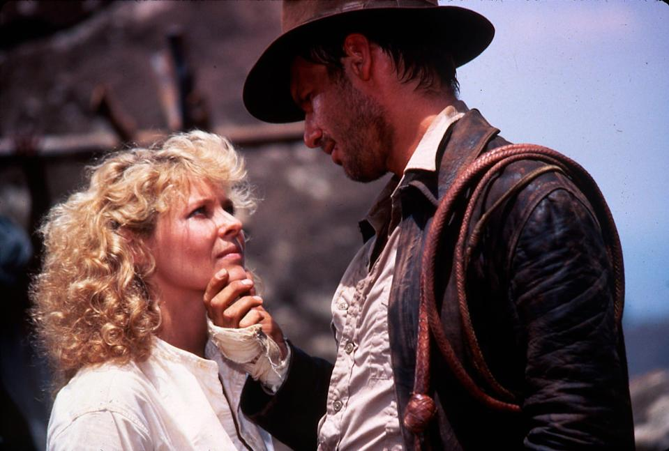 """Kate Capshaw and Harrison Ford star in """"Indiana Jones and the Temple of Doom,"""" the movie where Capshaw met future husband Steven Spielberg."""