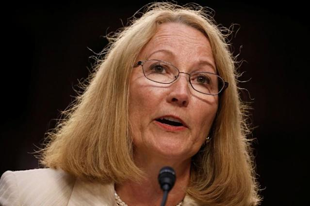 """Susanne Lyons, Acting Chief Executive Officer of United States Olympic Committee testifies before a Commerce Subcommittee hearing entitled """"Strengthening and Empowering U.S. Amateur Athletes: Moving Forward with Solutions"""" on Capitol Hill in Washington"""