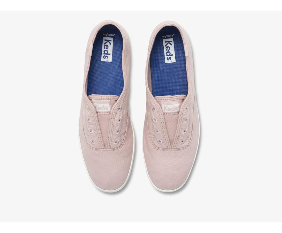 <p>These <span>Keds Chillax Washable Feat. Organic Cotton Sneakers</span> ($45) are machine washable, which is the first thing we love about them. They have a lived-in look and are lightweight and walkable for long days spent out and about.</p>
