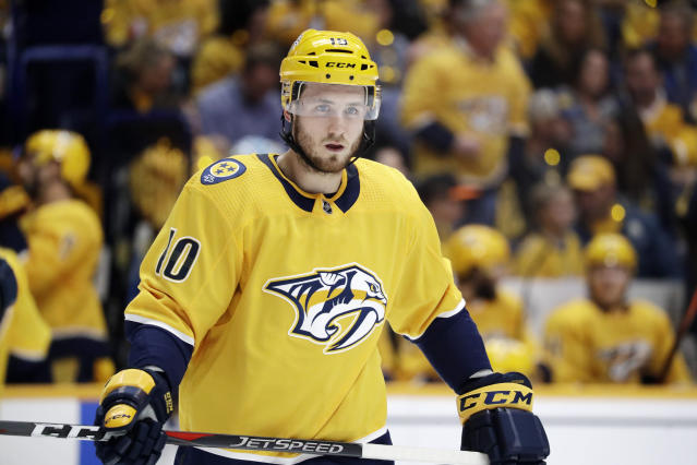 Nashville Predators center Colton Sissons plays against the Dallas Stars during the first period in Game 2 of an NHL hockey first-round playoff series Saturday, April 13, 2019, in Nashville, Tenn. (AP Photo/Mark Humphrey)