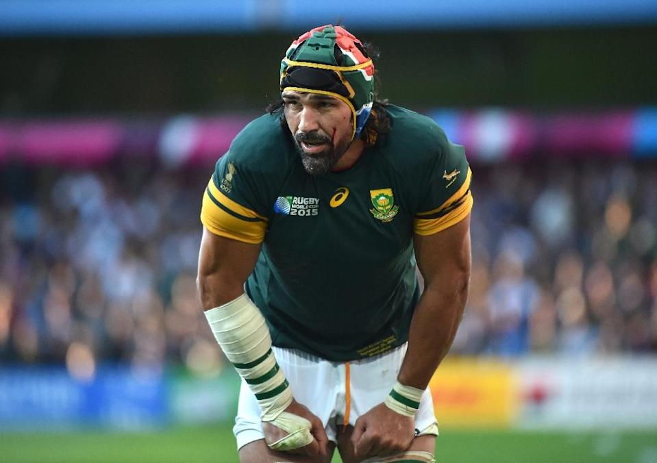 South Africa's lock Victor Matfield, seen during their Rugby World Cup Pool B match against Samoa, at Villa Park in Birmingham, on September 26, 2015 (AFP Photo/Bertrand Langlois)