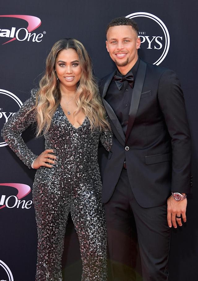 Ayesha and Stephen Curry at the 2017 ESPYS in L.A. on July 12, 2017. (Photo: Phillip Faraone/Patrick McMullan via Getty Images)