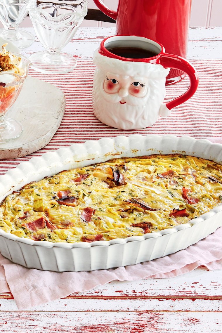 """<p>This make-ahead quiche is the perfect brunch for your long Thanksgiving weekend. You can swap the ham for any protein (ahem, turkey), and you'll have most of the other ingredients at the ready too.</p><p><strong><a href=""""https://www.countryliving.com/food-drinks/a29628727/crustless-ham-and-leek-quiche-recipe/"""" rel=""""nofollow noopener"""" target=""""_blank"""" data-ylk=""""slk:Get the recipe"""" class=""""link rapid-noclick-resp"""">Get the recipe</a>.</strong></p><p><strong><a class=""""link rapid-noclick-resp"""" href=""""https://www.amazon.com/Creuset-Heritage-Stoneware-24-Ounce-Marseille/dp/B007K7ZDTO/?tag=syn-yahoo-20&ascsubtag=%5Bartid%7C10050.g.1064%5Bsrc%7Cyahoo-us"""" rel=""""nofollow noopener"""" target=""""_blank"""" data-ylk=""""slk:SHOP BAKING DISHES"""">SHOP BAKING DISHES</a><br></strong></p>"""