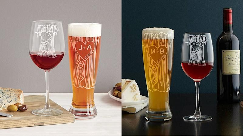 Best personalized gifts: Tree Trunk Glassware Duo