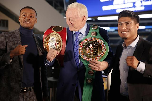 Errol Spence defends his IBF welterweight title against Mikey Garcia on Saturday at AT&T Stadium in Arlington, Texas. (AP)
