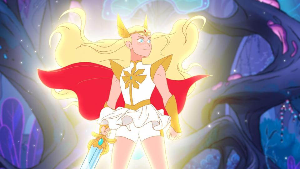<p>She-Ra is one of the easiest costumes to make if you're crafty. For her headpiece and accouterments (sword, armbands, etc.), all you need is a headband, a red plastic jewel, plenty of cardboard, and gold spray paint. A cheap blond wig and a short white dress will round out the look.</p>