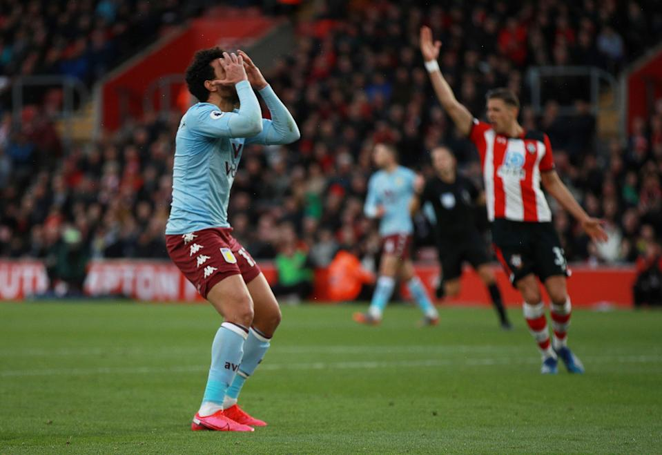 """Soccer Football - Premier League - Southampton v Aston Villa - St Mary's Stadium, Southampton, Britain - February 22, 2020  Aston Villa's Trezeguet reacts REUTERS/Ian Walton  EDITORIAL USE ONLY. No use with unauthorized audio, video, data, fixture lists, club/league logos or """"live"""" services. Online in-match use limited to 75 images, no video emulation. No use in betting, games or single club/league/player publications.  Please contact your account representative for further details."""