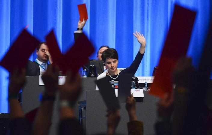 Frauke Petry, party leader of Alternative for Germany (AfD) votes at a party congress on May 1, 2016 in Stuttgart (AFP Photo/Philipp Guelland)