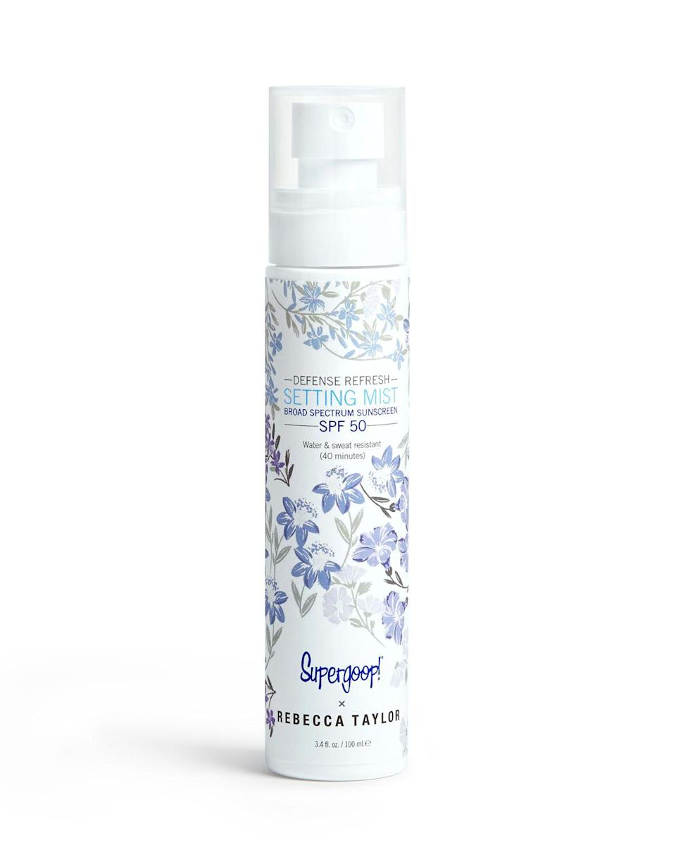 """Not only does this setting spray pack in SPF 50, but it feels insanely refreshing on tired skin thanks to the addition of soothing peppermint oil. The fine mist is practically weightless, so you can reapply with wild abandon.<br><br><strong>Supergoop!</strong> Defense Refresh Setting Mist Broad Spectrum SPF 50, $, available at <a href=""""https://modesens.com/gb/en/product/supergoop-!-x-rebecca-taylor-defense-refresh-setting-mist-broad-spectrum-spf-50-3.4-oz.-11697282/?refinfo=gSH_ggfSuperfe-HeBePeCaCoSkCa11697282&utm_source=google&utm_media=CPC&gclid=EAIaIQobChMImKiQ5Pjq4QIVyIqzCh1ECgbZEAYYASABEgINLPD_BwE"""" rel=""""nofollow noopener"""" target=""""_blank"""" data-ylk=""""slk:ModeSens"""" class=""""link rapid-noclick-resp"""">ModeSens</a>"""