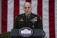 """FILE - In this Nov. 13, 2020, file photo Army Gen. Gustave Perna, who is leading Operation Warp Speed, speaks during at an event in the Rose Garden of the White House in Washington. The Army general in charge of getting COVID-19 vaccines across the United States apologized on Saturday, Dec. 19, for """"miscommunication"""" with states over the number of doses to be delivered in the early stages of distribution. """"I failed. I'm adjusting. I am fixing and we will move forward from there,"""" Perna told reporters in telephone briefing. (AP Photo/Evan Vucci, File)"""