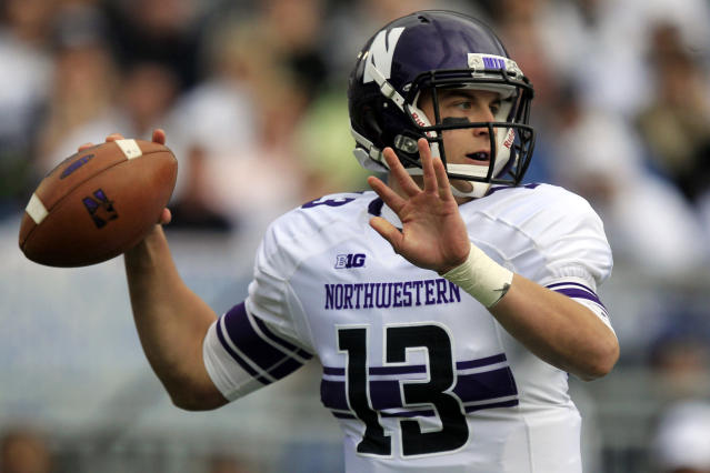Northwestern quarterback Trevor Siemian (13) passes during the first quarter of an NCAA college football game against Penn State in State College, Pa., Saturday, Oct. 6, 2012. (AP Photo/Gene J. Puskar)