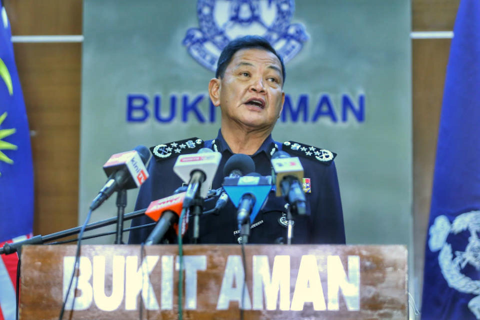 Retiring Inspector-General of Police Tan Sri Abdul Hamid Bador alleged that the person abused his power by using a police department, believed to be the Special Branch, for his own political purposes. — Picture by Ahmad Zamzahuri