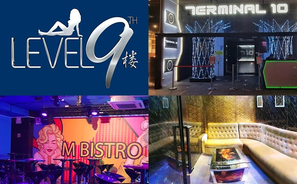 Clockwise of the KTV places that will be closed from 15 July to 29 July due to a growing COVID-19 cluster: Level 9, Terminal 10, One Exclusive, and Club M. (PHOTOS: LeveL9thsg, terminal10clarkequay, clubmsingapore, oneexclusivesg/Facebook pages)