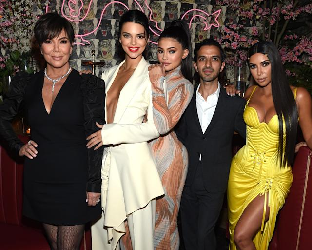 Kendall Jenner, second from left, pictured with Kris Jenner, Kylie Jenner, and Kim Kardashian. (Photo: Getty Images)