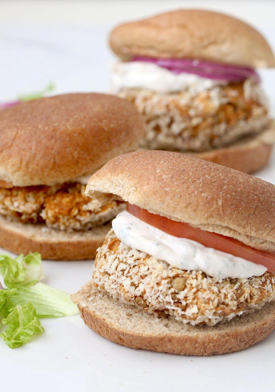 """<p>These burgers by<a href=""""https://shawsimpleswaps.com/bbq-lentil-burgers/"""" rel=""""nofollow noopener"""" target=""""_blank"""" data-ylk=""""slk:Shaw's Simple Swaps"""" class=""""link rapid-noclick-resp""""> Shaw's Simple Swaps</a> might be meatless but they're heavy in flavor. Each burger has only 120 calories and you can easily make a bunch at once to save for easy meals throughout the week. Lentils provide a ton of lean protein and fiber to keep you satiated and the panko breadcrumbs and BBQ sauce make the burger feel incredibly indulgent despite its clean profile.</p>"""