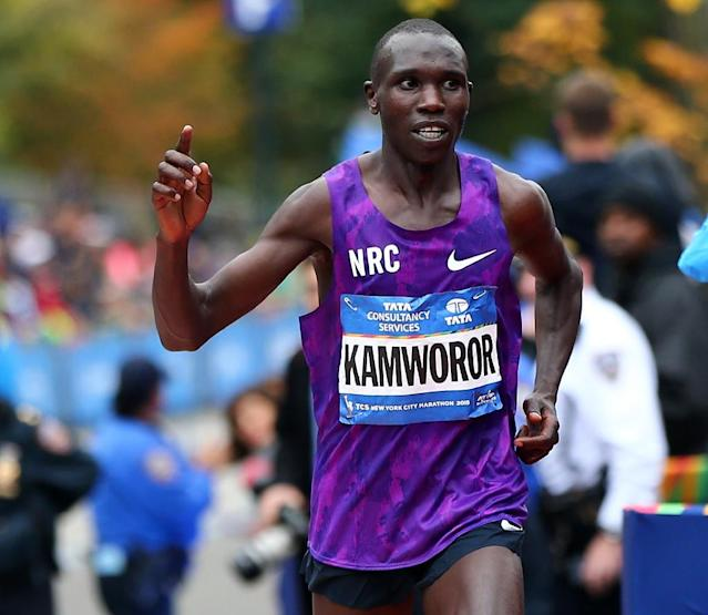 Geoffrey Kamworor of Kenya, pictured in 2005, defended his title at the World Cross-Country Championships (AFP Photo/ELSA)