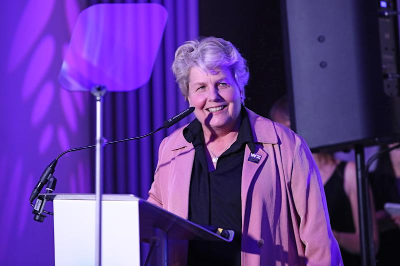 Sandi Toksvig accepting the award for for 'Broadcaster of the Year' at the Diva Awards 2019. (Photo by John Phillips/Getty Images)