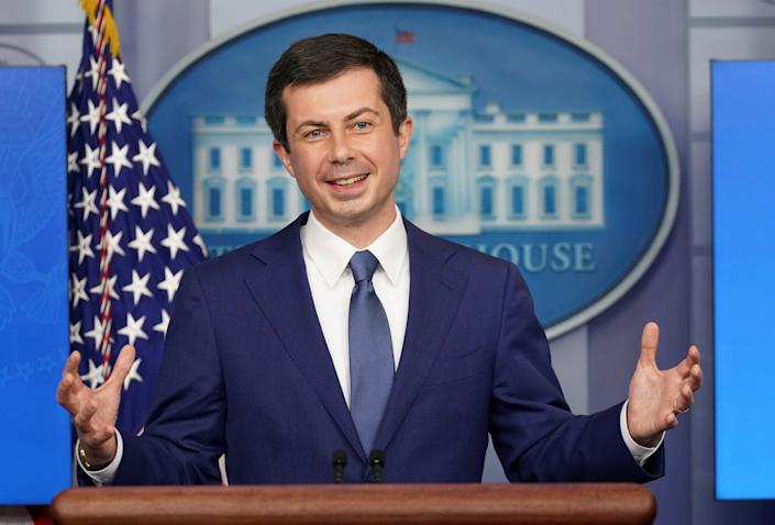 U.S. Secretary of Transportation Pete Buttigieg speaks during a press briefing at the White House in Washington, U.S., April 9, 2021. (Kevin Lamarque/Reuters)