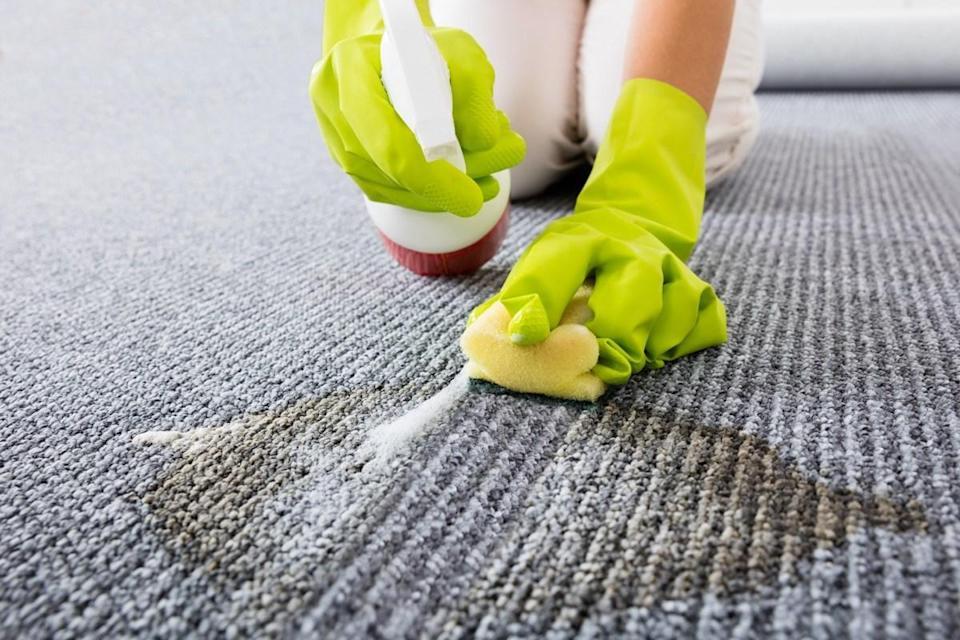 """It may be tempting to vigorously scrub that spill on your carpet, but doing so will only compound the issue. """"Scrubbing can actually push a stain deeper into the fibers, making it impossible to remove,"""" says Valadzko. He recommends blotting up any liquid and then calling a professional to remove the rest."""